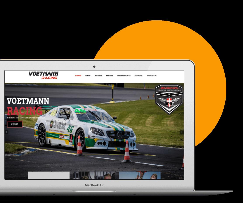 Voetmann racing hjemmeside og DTC sponsorat DinOptimering.dk